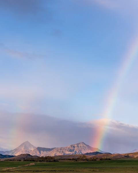 Victoria peak and Prairie Bluff (ltor) and a rainbow.