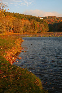 Bass Lake in fall view of Moses Cone