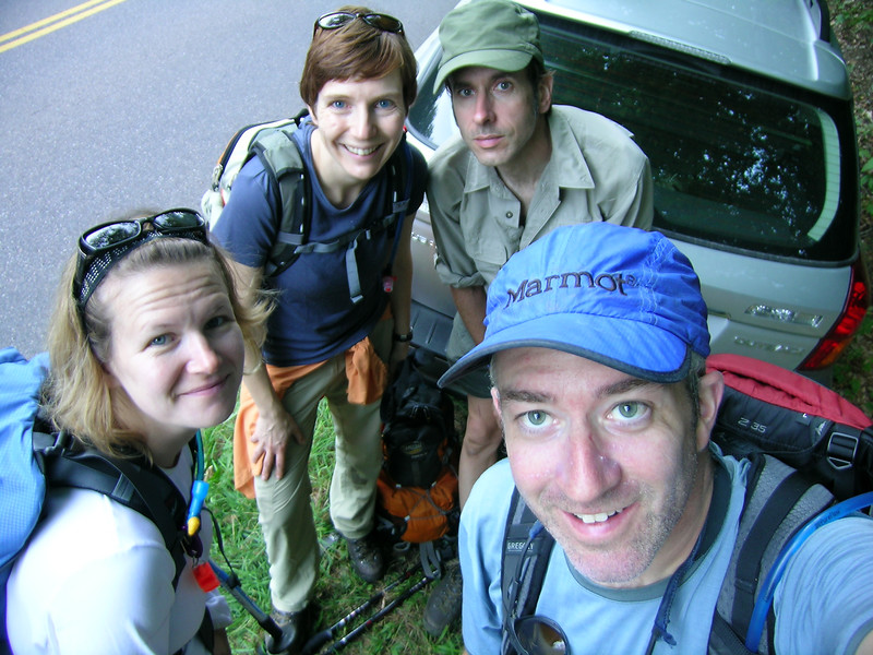 """Post hike of the Hell Brook route up Mount Mansfield. Left to right, are XCBitsy, Alpen Tussi, Skeecher and """"therealsnomonkey"""""""