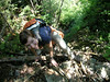 Bushwhacking up a gully above the Hell Brook trail. We're calling this one Satan's Slide.