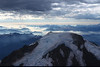 Summit of Mt. Baker, in a year of heavy forest fire activity (backdrop)