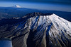 Mt St. Helens with Mt Adams in the background, and a little bit of Mooney 201 wing in the corner.