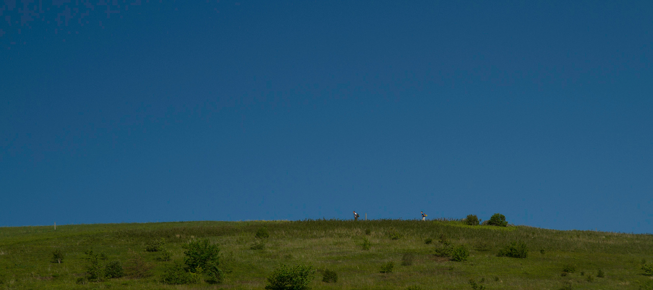 Through-hikers on the Appalachian Trail on Max Patch.