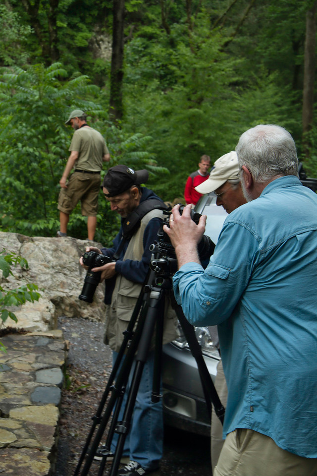 "My photo buddies. Kelly trying to pre-visulize the scene, Scott already got his shot, Hugh ""chimping"", John setting up his camera and Ron asking John what the best setting is for this shot."