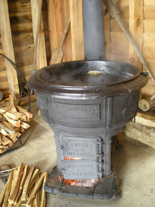 The old caldron built in 1901 is the second stage of the syrup making.