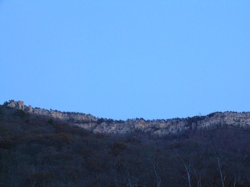View of North Fork Mountain from Smoke Hole Caverns. The Chimney Top formations are on the left.