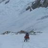 Climbing above the seracs Paso Marconi