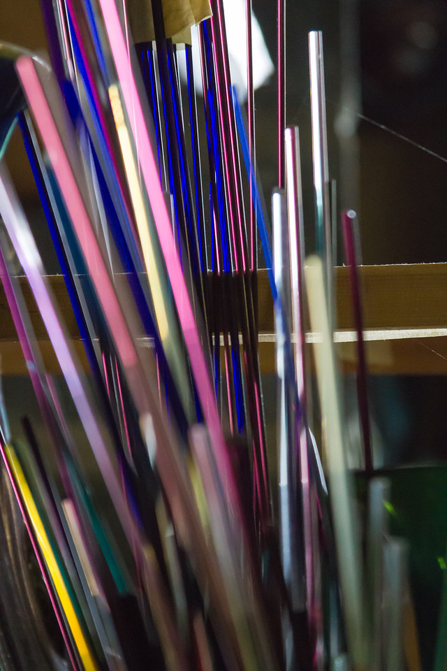 He also uses these glass rods as accent colors for his glass.