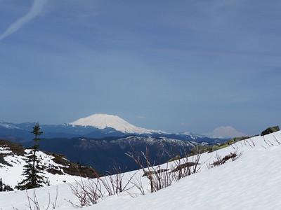 Mt. St. Helens center; Mt. Rainier on the right