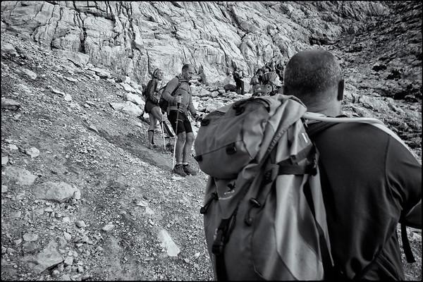 A pause on the way up to Brecha de Los Cazadores (Hunter's gap)