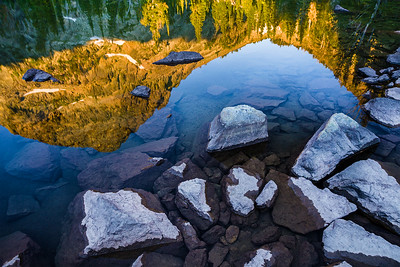 Morning reflection at Upper Canon Lake, Seven Devil Mountains, Idaho.