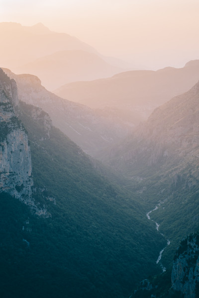 Vikos Gorge at sunset, Greece.