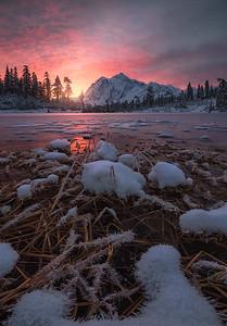 Sunrise over a freshly frozen Picture Lake, Washington