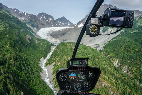 Helicopter view of Alaskan glacier