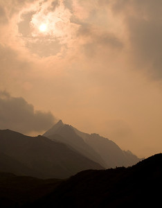 Sunset Over Pyramid Peak (with smoke from McCarthy Fire), Wrangell-St Elias NP, Aug 2009