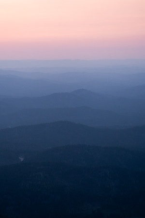 Layers of hills from the summit of Black Elk Peak, South Dakota.