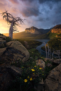 Sunrise over the Swiftcurrent Valley in Glacier National Park - Montana