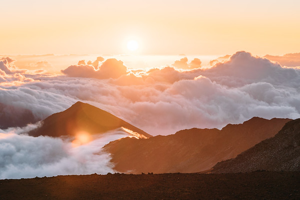 Above the clouds for sunrise, Haleakala, Maui.
