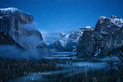Winter Foggy Night in Yosemite Valley