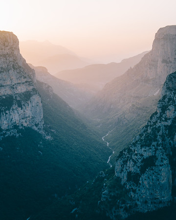 Vikos Gorge looking beautiful at sunset.