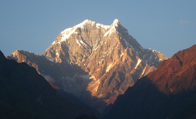 Sun Setting on Nilgiri—Tatopani, Nepal