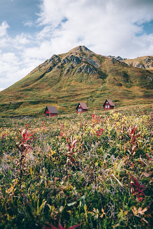Cabins in Hatcher Pass, Alaska, in fall.