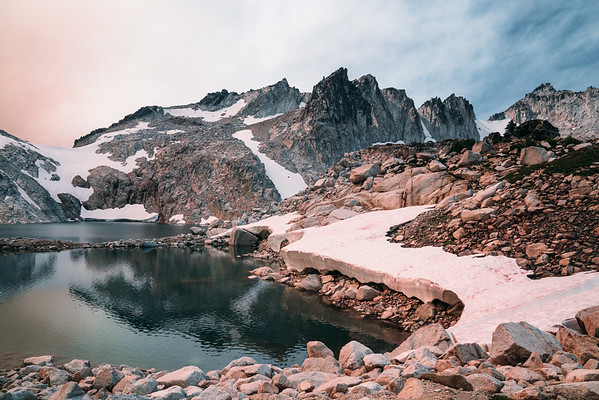 Smoky landscape in the Enchantments, Washington.