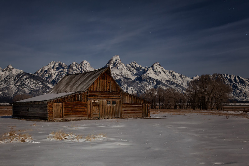 Moulton Barn - Past sundown, the stillness of the night and the cold makes for a picturesque scene of the Moulton Barn in Grand Teton National Park