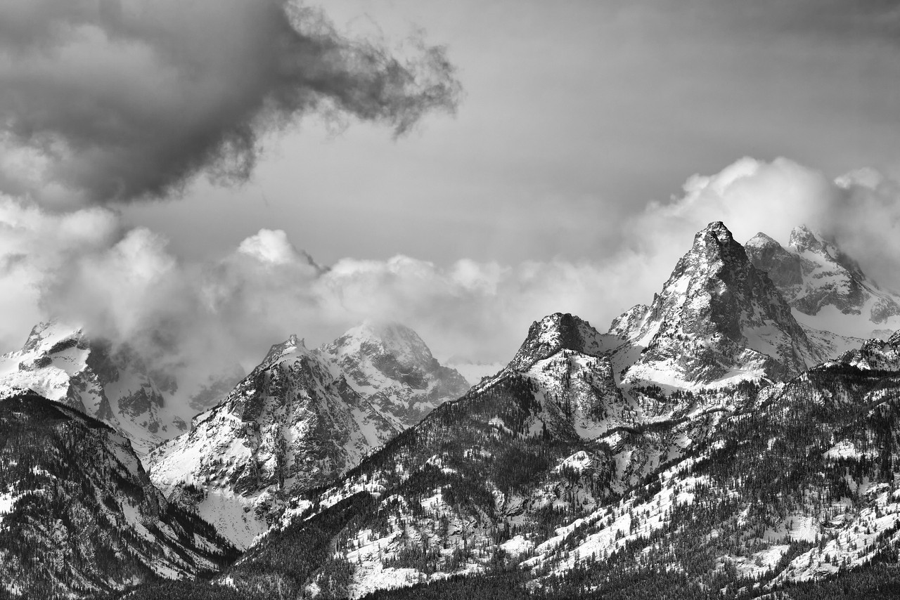 Classic Tetons - Winter storms gather around the Teton mountains in western Wyoming