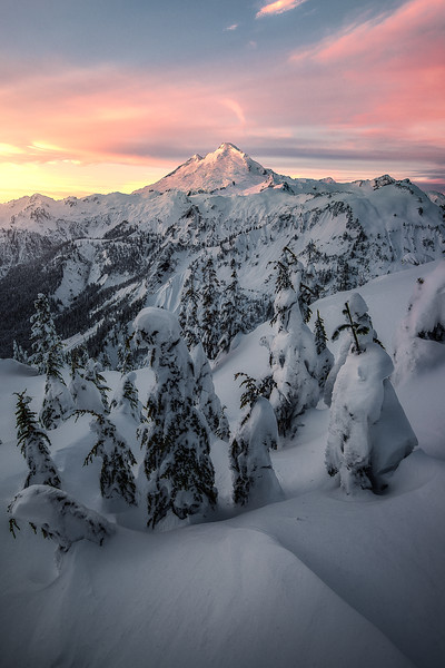 Sunrise over fresh snow at Mt Baker - Washington