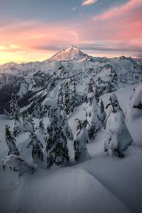 Sunrise over fresh snow at Mt Baker - Washington