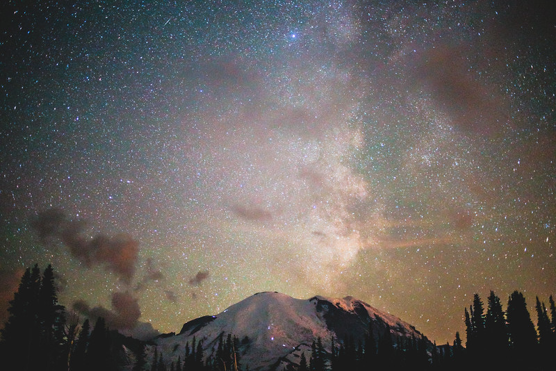 Milky Way over Mt Rainier