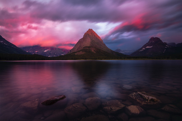 A storm breaks at sunrise - Glacier National Park, Montana