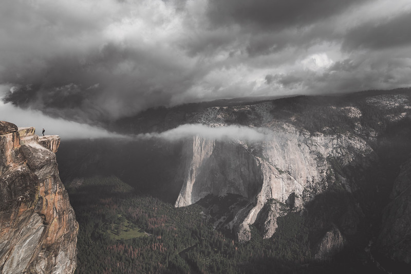Hiker and Clouds at Taft Point