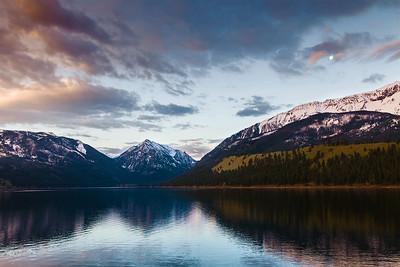 Wallowa Lake Moonset, Oregon.