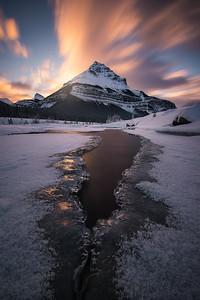 A long exposure shot of Tangle Peak during sunrise - Jasper National Park, Canada