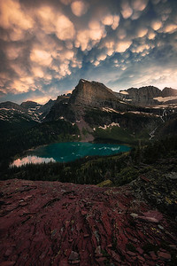 Rare Mammatus clouds over Angle Wing Peak in Glacier National Park - Montana