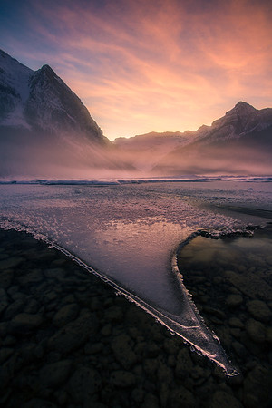 Rare conditions during sunset at Lake Louise - Banff, Canada