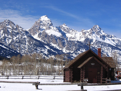 Grand Teton and chapel, Wyoming