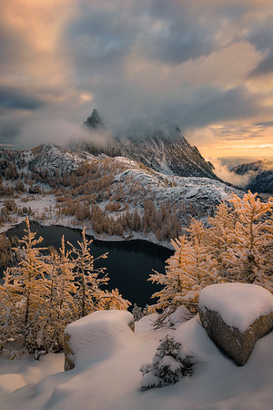 An amazing display of light after a snow storm passes in The Enchantments - Washington