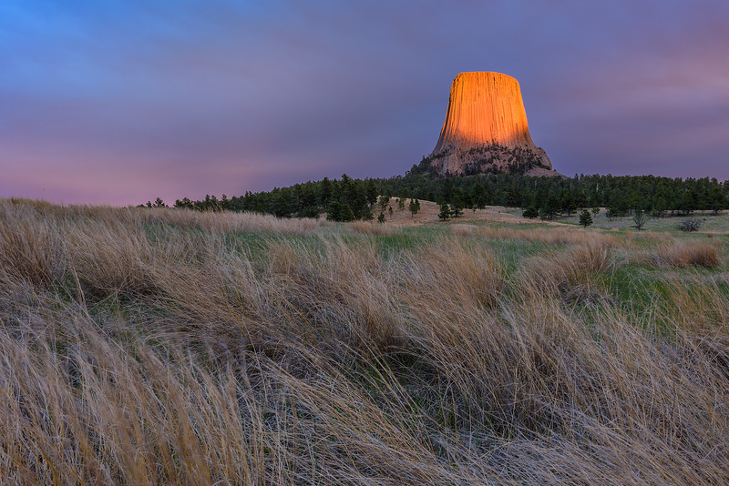 Devils Tower Sunset Glow