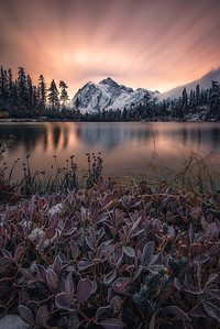 A frosty morning at Picture Lake with Fall colors, fresh snow and Mt Shuksan - Washington