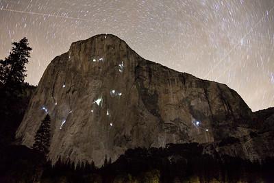 Night shot of El Captain, Yosemite, California
