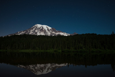 Shooting star over Mount Rainier