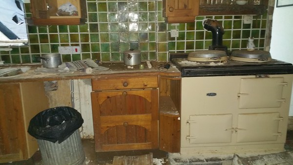 We now enter via the ground floor kitchen..almost all the floor has rotted away!