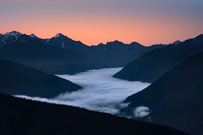 """First Light"".  View from Hurricane Ridge Lodge over the Elwha River Valley"