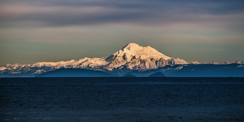 Mt. Baker and the North Cascades from Ediz Hook, Port Angeles, WA