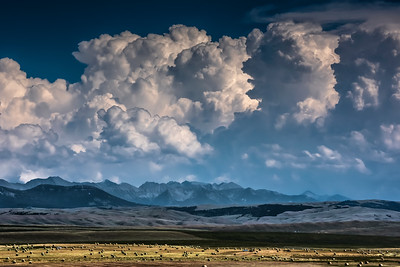 Storm clouds over the Crazy Mountains, Hwy 89 near Ringling, Montana
