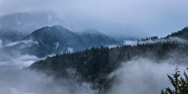 Winter View of Olympic Foothills west of Port Angeles, WA
