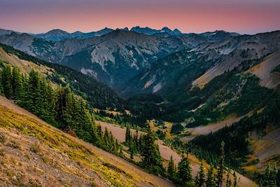 Badger Valley at sunset, Olympic National Park, Washington